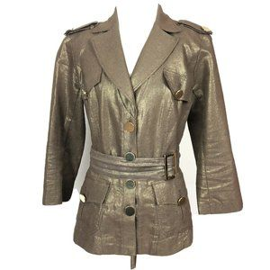 Cache Brown Gold Metallic Jacket Button Military